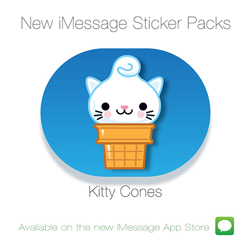 Kitty Cones iMessage Sticker Pack 1